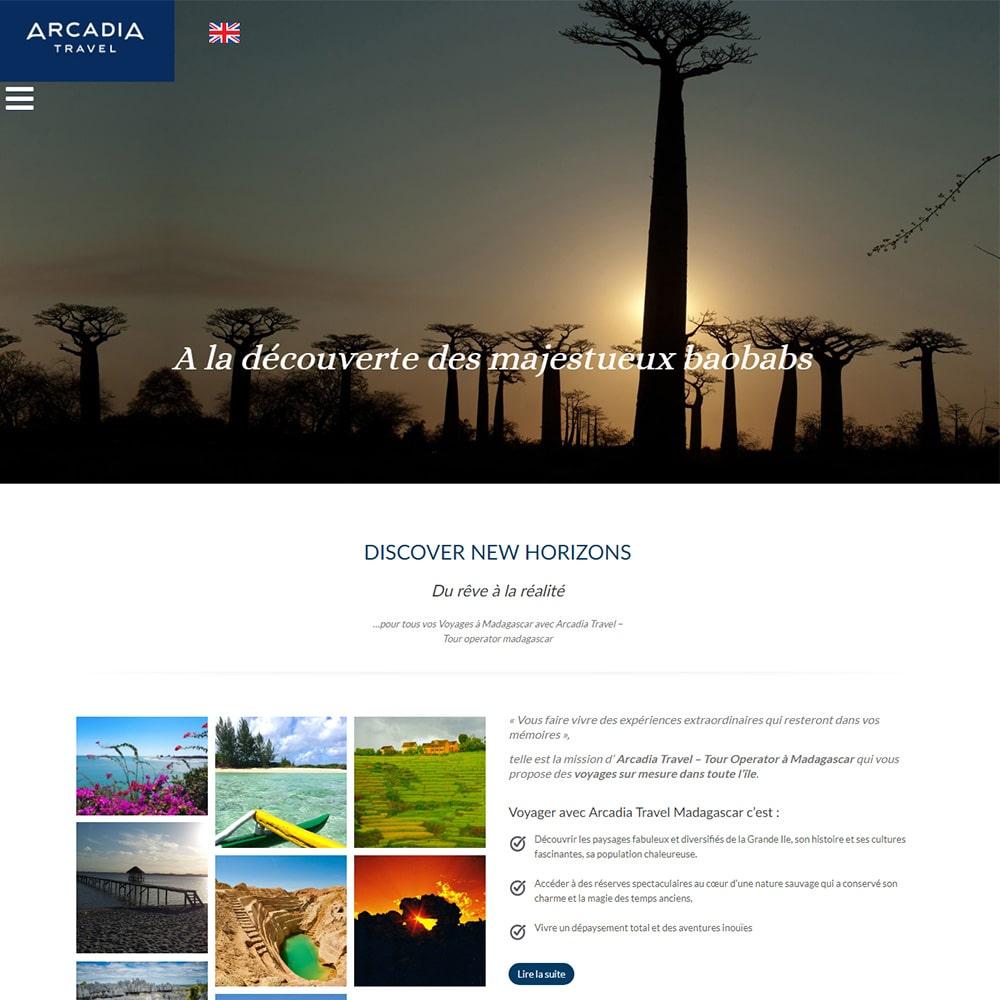 Creation du site Arcadia Travel Madagascar