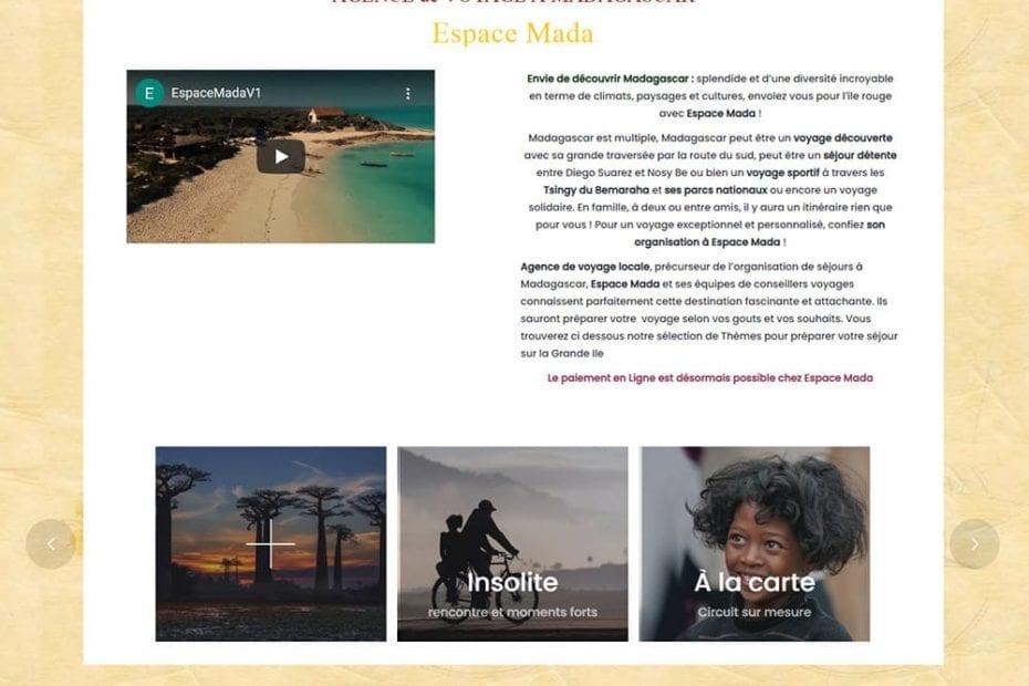 creation du site Espace Mada