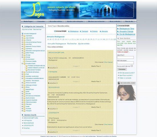 creation du site annuaire malgache